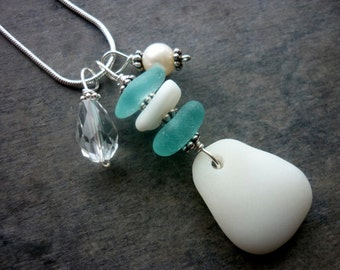 Sterling Sea Glass Necklace Aqua Blue Beach Glass Jewelry Pendant
