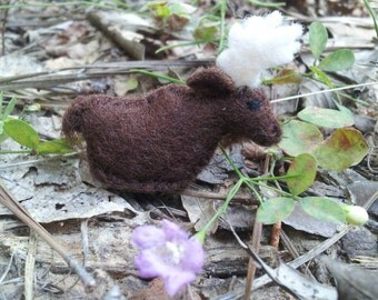 Tiny Moose - cute miniature moose - felted moose ornament - felt moose plush - Maine moose souvenir - otherkin totem - therian animal