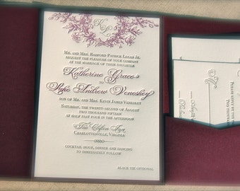 Letterpress Plum And Pewter Charcoal Wedding Invitation With Floral Wreath  Monogram Deposit