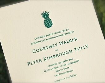 Pineapple Wedding Invitation, Green Letterpress Wedding Invitation