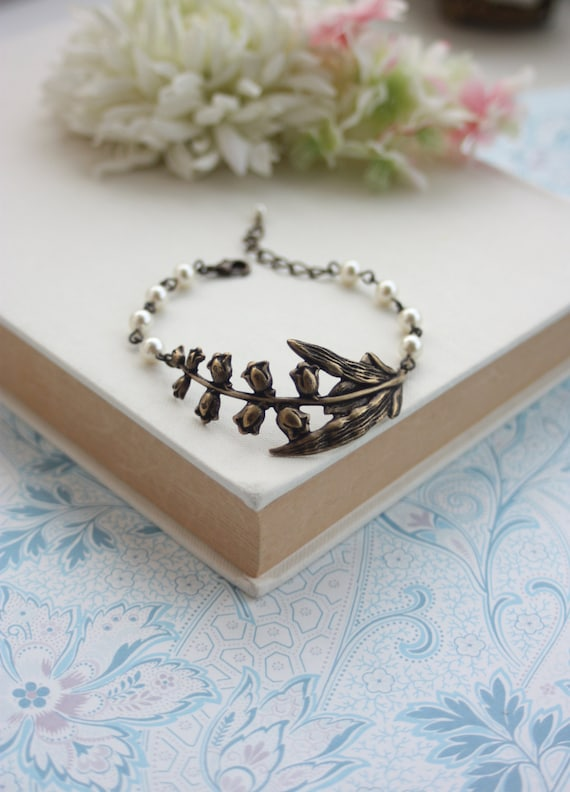 Lily of The Valley Leaf Bracelet Ivory Pearls Large Antiqued Brass Lily of Valley Branch Woodland Lily of Valley Fall Inspired Cuff Bracelet