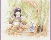 Alice and White Rabbit - print