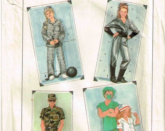 Adult Army Soldier, Prisoner, Doctor Nurse Spaceman Halloween Costume Sewing Pattern Simplicity 8890 Size S Small Bust 34 36 Misses Men
