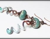 Rain Dance... Handmade Jewelry Earrings Beaded Enamel Ceramic Antique Copper Aqua Teal Seafoam Green Rustic Boho Asymmetrical Ombre Artisan