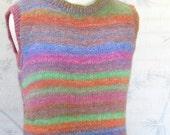 Womens Maxi Dress Hand Knit Shapely Striped