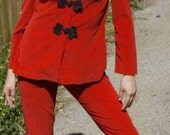 Vintage Asian Style  Red and Black 1960's Velvet Pantsuit with Skinny Leg Pants