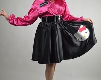 Pink Lady Jacket, Grease Pink Ladiy, 50s Pink Lady, Satin Pink Jacket, Sock Hop Jacket, Size Large: Jacket Costume, Buffalo Gal Vintage