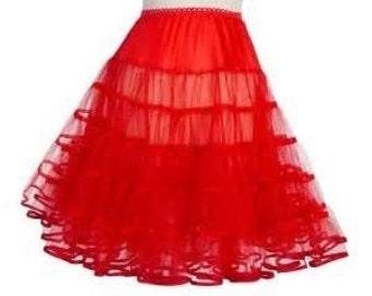 Red Crinoline, 50s Crinoline, Tea Length, Puffy Slip, Long Tu Tu, Pin Up, Rockabilly, Square Dance, Can-Can, Costume, Pin up Girl,