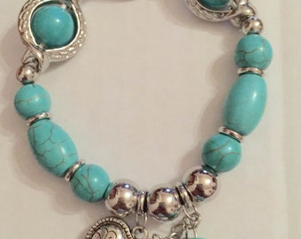 1980s Turquoise Embellished Beads and Heart Bracelet