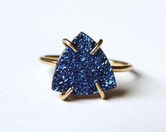 SALE Triangle Titanium Druzy Gold Ring OOAK