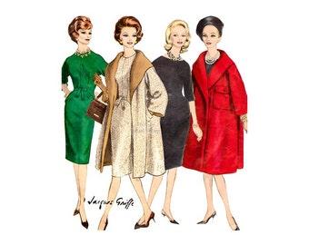 Vogue Paris Original Pattern 1019 1960s Jacques Griffe Wrap Coat & Sheath Dress Bust 34, Womens Vintage Sewing Pattern, Couture Fashions