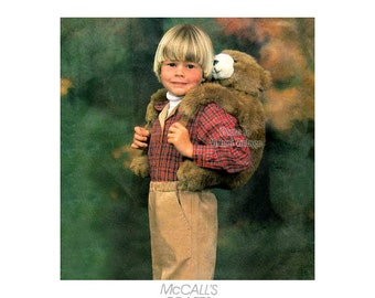 Child's Backpack Pattern McCall's Crafts 2198, Bear Hugs Brown Bear Backpack, Uncut Animal Backpack, Vintage Plushie Knapsack Pattern