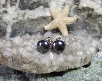 Longer Posts Shiny 6mm Hematite Stud Earrings Titanium Post and Clutch Hypo Allergenic Handmade in Newfoundland Yang