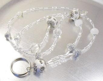 Lanyard -White Ceramic and Crystal Glass Beaded ID Badge Holder, ID Lanyard, Glasses Holder