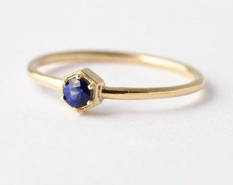 Sapphire Ring: 14K/18K Gold Hexagon, Non Diamond Engagement Ring