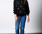 The Vintage Gold Flower Sequin Black Sweater