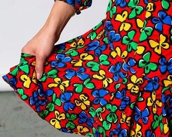 The Vintage Rainbow Butterfly Twirl Dress