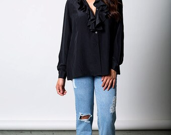 The Vintage Black Silk Ruffle Button Up Blouse