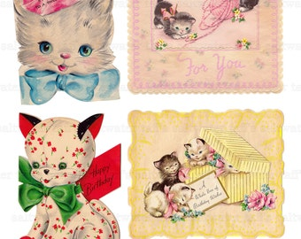 Vintage Kitties Image Digital Download vintage kitten cards for fabric transfer decoupage card collage old fashioned cat 1950s birthday card