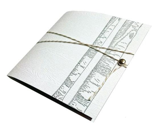 Birch Tree Letterpress on Wood Textured Paper Journal Notebook