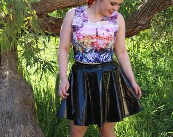 Black PVC Skater Skirt