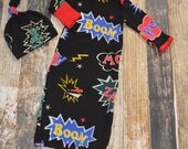 Superhero Comic Book Sayings Newborn Gown with Matching Knot Hat