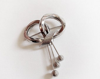 Vintage Silver Tone Metal Knot Bow Brooch