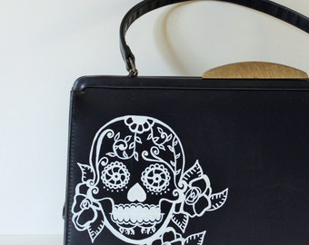 Day of the Dead purse - VINTAGE PURSE with hand painted sugar skull