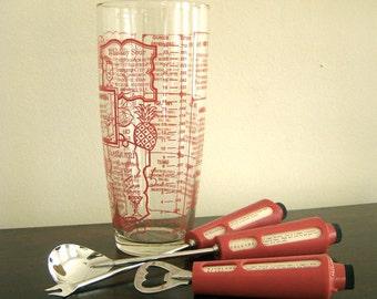 BAR STARS. Vintage Barware Set - Large Mixing Glass - Bottle Opener - Stirring Spoon - Olive Fork - Rotating Recipe Guides