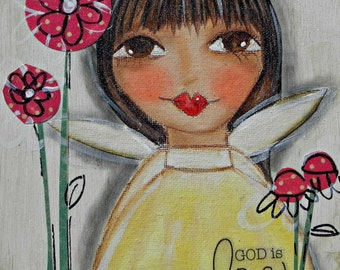God is LOVE ~Angel in Yellow~ 6x6 mixed media painting. ORIGINAL Art