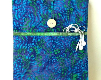 Blue MacBook Pro Case, 13 .3 inch Laptop Bag, Mac Book Air or Pro 13 Retina Sleeve,Green Batik Dyed Boho Fabric Cover Padded Pochette Pouch