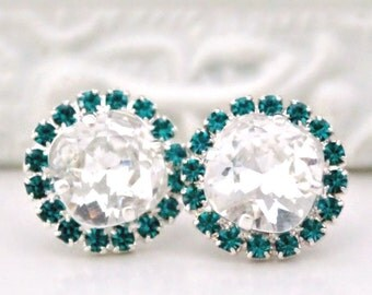 Crystal Clear Square Cushion Swarovski Crystals Framed with Blue Zircon Halo Crystals on Silver Stud Earrings