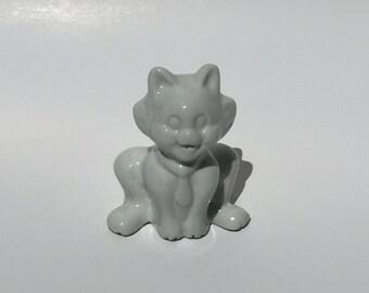 Vintage White Ceramic Cat Wearing a Necktie