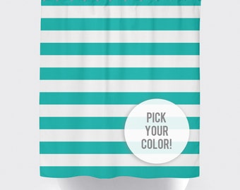 Striped Shower Curtain, Custom Shower Curtain, Kids' Striped Shower Curtain, Rugby Stripe Shower Curtain, Striped Curtain, Pick Your Color!