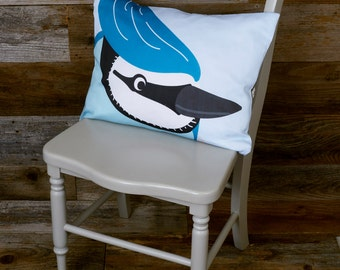 """Bird Pillow - Throw Pillow, Bluejay - 12"""" x 16"""", Teal Pillow"""