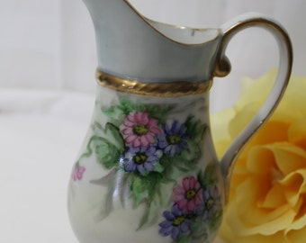 Vintage Hand Painted Floral Pitcher Vase, Small, Signed F. Brethauer