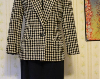 Early 90s Navy Wool Skirt Suit, Size 6P, Karen Scott, Ellen Ashley