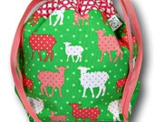 Preppy Sheep- Small One Skein Knitting Crochet Sewing Project Bag