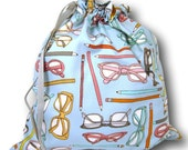 "Knitting Project Bag - Spectacles ""Sheepie Sack"" - Drawstring Bag Crochet Cross Stitch Embroidery Sewing WIP"
