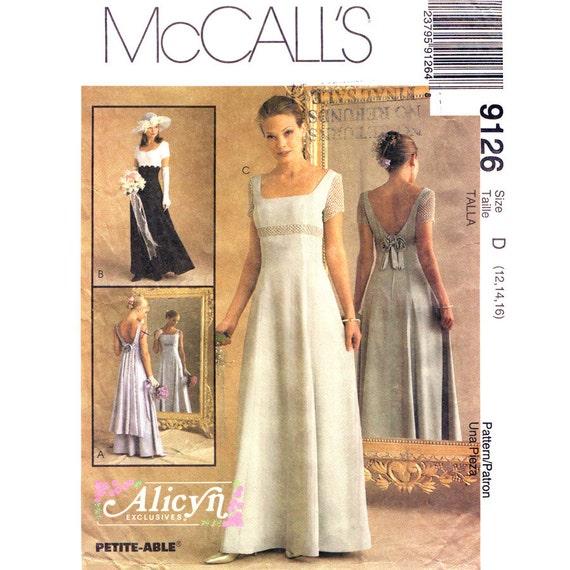 Empire waist dress pattern mccalls 9126 low back dress wedding for Empire waist wedding dress patterns