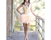 OLYMPIAN Great Gatsby prom Dress gold Burlesque Showgirl Corset costume white FEATHER SKIRT