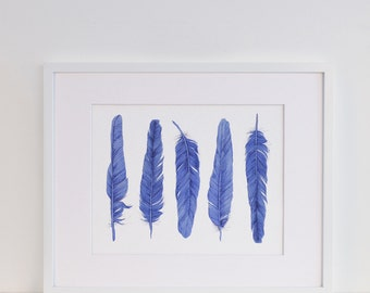 Five Blue Feathers Watercolour Art Print in a Mount Kit Ready to Frame  Coastal Style Home Decor Hamptons Style Artwork