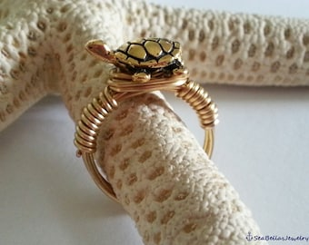 Turtle Antique Wire wrapped Ring Gold plated tortoise-tortuga-Beach- artistic wire sea turtle beach wedding,ring, bride, sea life,pet,sea