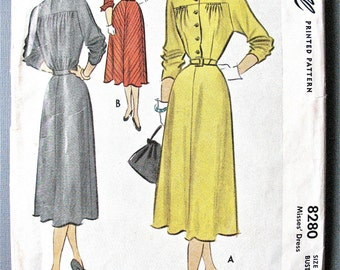 McCall 8280 ©1950 Misses' Dress  Dress with Yoke Details, Sleeve Variations Vintage Sewing Pattern Bust 30 inches