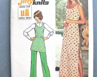 Simplicity 5559; ©1973; Misses' Jiffy Knit Dress or Tunic & Pants Vintage Sewing Pattern Bust 36