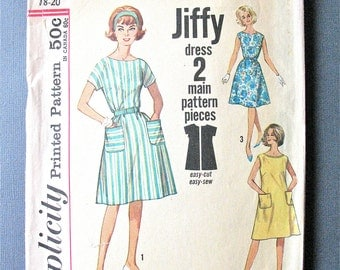 Simplicity 4977  1960s Misses' One-Piece Jiffy Dress Simple to Sew A-shaped dress has a high scooped necklineVintage Sewing Pattern Bust 38