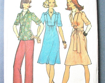 Simplicity 7049 ©1975  Misses' One-Piece Dress or Top and Pants Vintage Sewing Pattern Bust 34