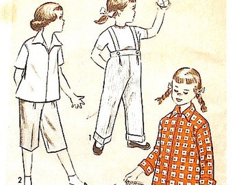 Vintage 1940s Advance 6349 Sewing Pattern   Girls' top and pants with optional suspenders
