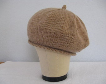 Cashmere Beret. Hand Knit Hat. 100 % Italian Cashmere. Camel/Tan Accessories.