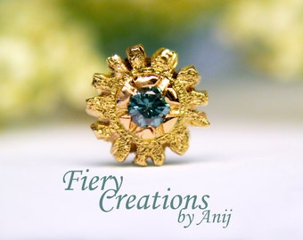 """Nose Screw / Tragus stud """"Jewel of the Seas"""" - 18k SOLID Yellow Gold with a 1.6mm Ocean Blue Diamond, OOAK"""